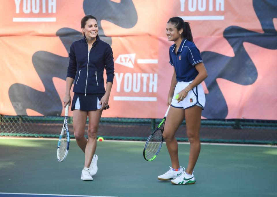 Kate Middleton (L) and Emma Raducanu attend a homecoming celebration for Great Britain's US Open Champions, hosted by the LTA Youth program, at the National Tennis Centre in Roehampton, UK, Sept. 24. - Credit: Jeremy Selwyn/Splash News