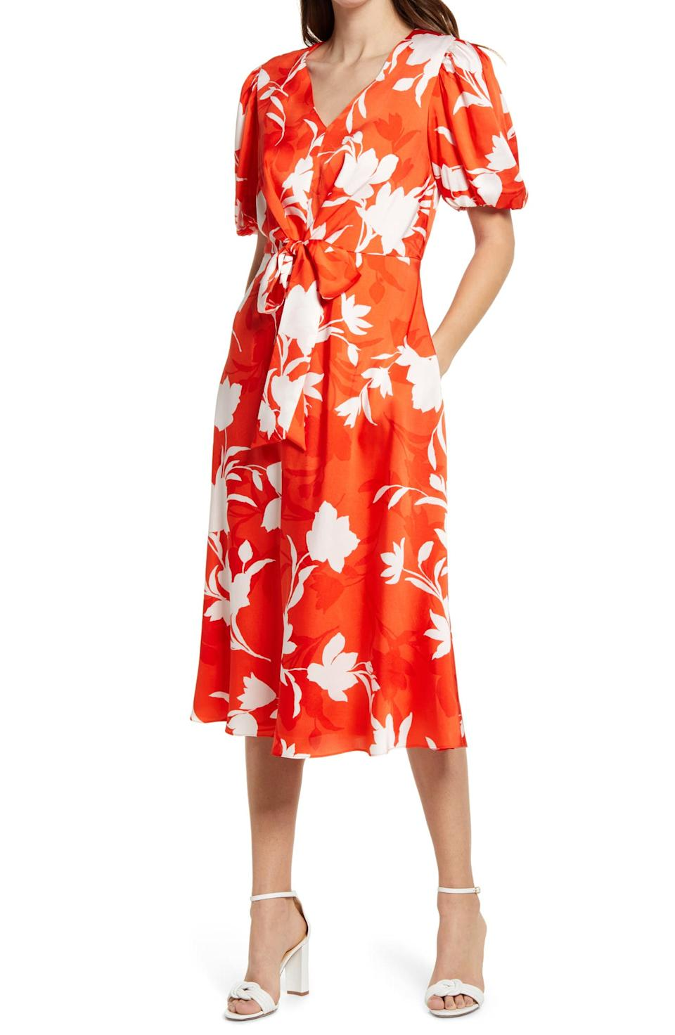 Julia Jordan Floral Balloon Sleeve Midi Dress. Image via Nordstrom.