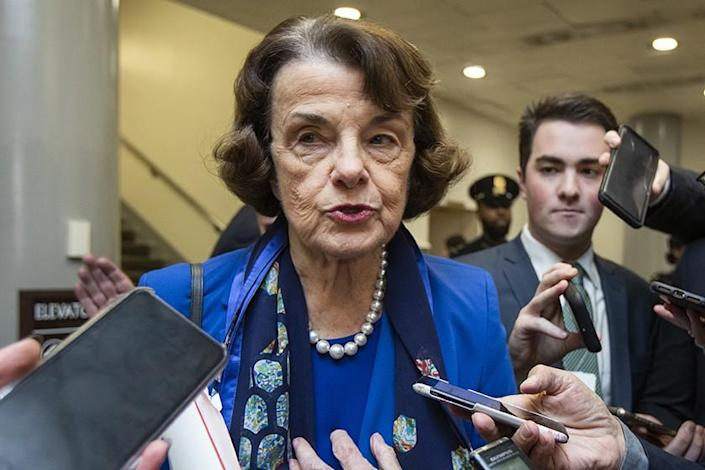 Sen. Dianne Feinstein fields media questions at the U.S. Capitol last month.
