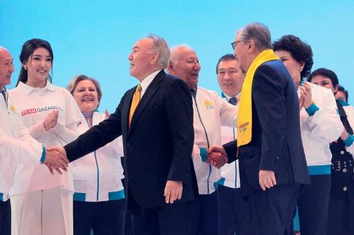 Nazarbayev (C) served as president for close to three decades before handing the reins over to hand-picked successor Tokayev (R) last year