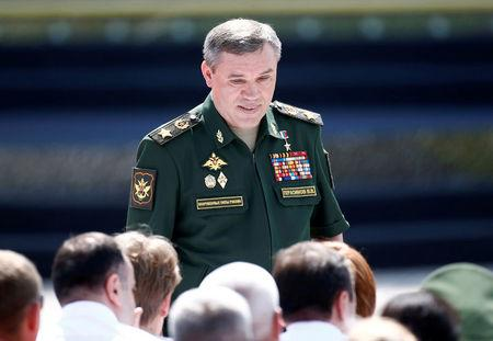 FILE PHOTO: Chief of the General Staff of Russian Armed Forces Valery Gerasimov arrives for the opening ceremony of the International Army Games 2017 in Alabino