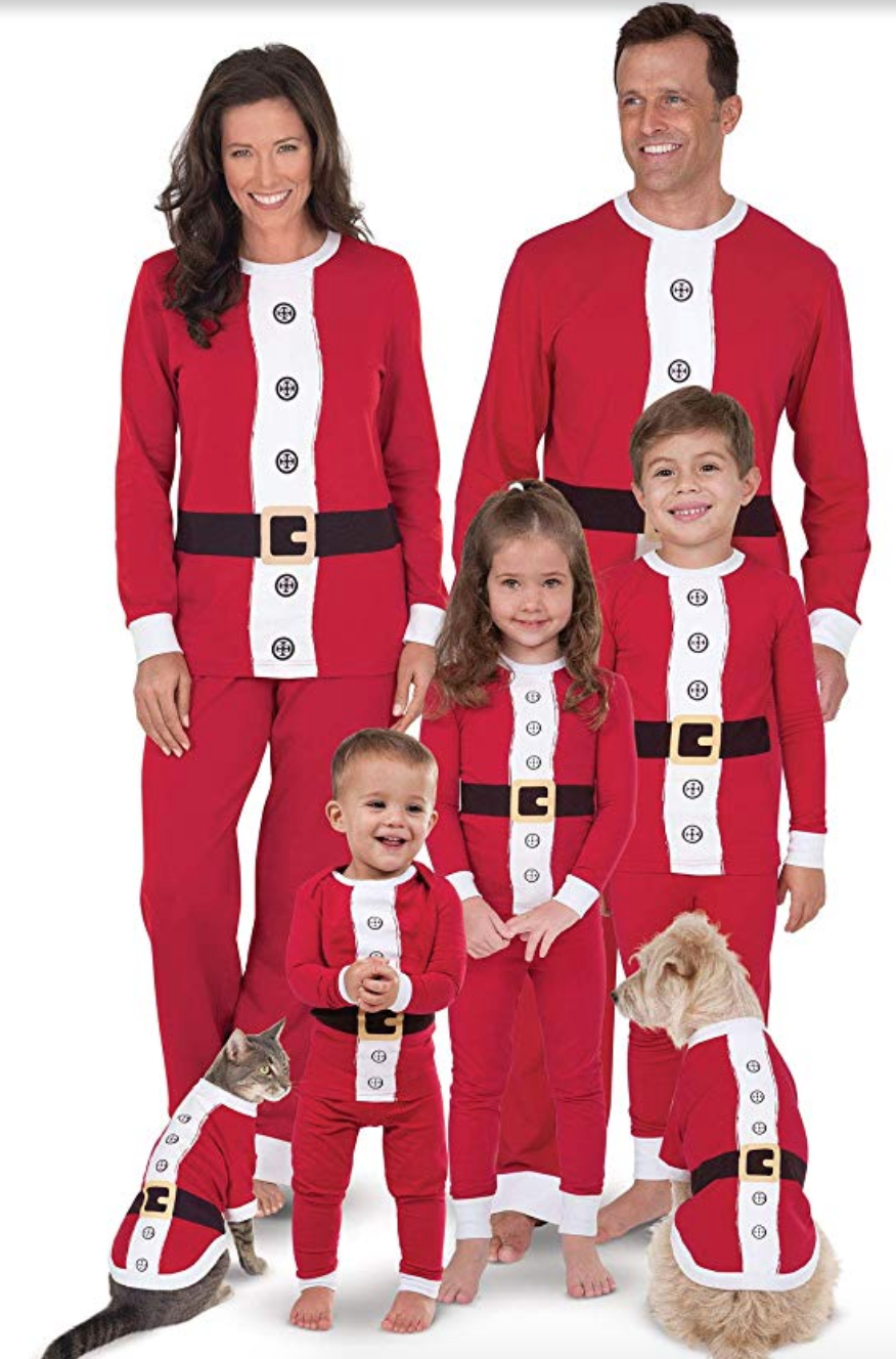 """<p><strong>PajamaGram</strong></p><p>Starting from $15</p><p><a href=""""http://www.amazon.com/dp/B00A2WAIQM/?tag=syn-yahoo-20&ascsubtag=%5Bartid%7C10055.g.4946%5Bsrc%7Cyahoo-us"""" rel=""""nofollow noopener"""" target=""""_blank"""" data-ylk=""""slk:Shop Now"""" class=""""link rapid-noclick-resp"""">Shop Now</a></p><p>The long-sleeve top is cozy and festive, while the draw-string bottoms are comfy enough to wear throughout your Christmas breakfast. </p>"""