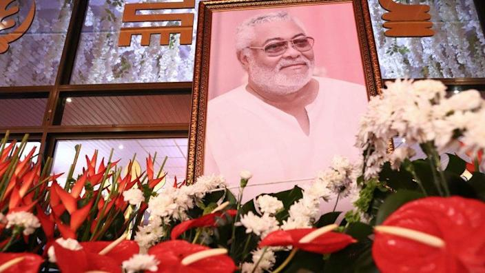 A photograph of the late former Ghana President Jerry John Rawlings displayed during the laying in state at the Accra International Conference centre, on 25 January 2021