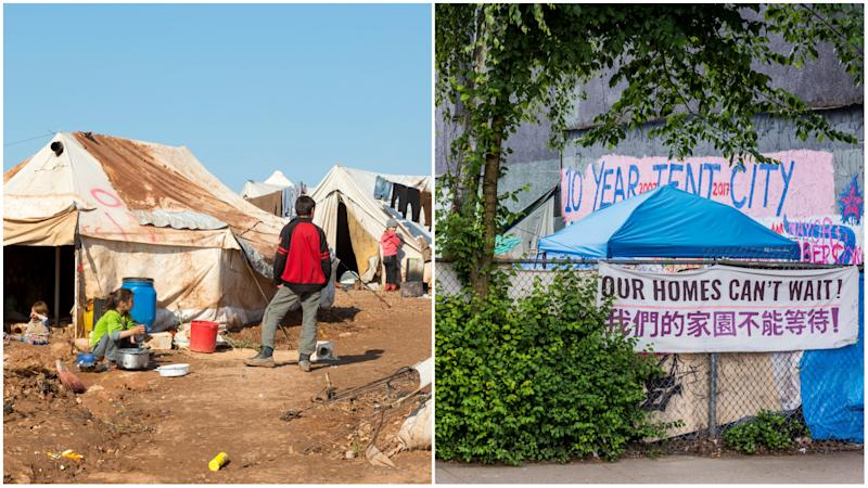 Poverty abroad and at home. The image on the left shows Syrian people driven from their homes by war and living at the camp for displaced persons outside the town of Atmeh in Idlib Province. The image on the right shows a 'tent city' occupied by homeless people in Vancouver, British Columbia. (Getty Images)