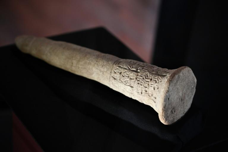 King Entemena's nail is a large clay peg inscribed with a treaty allying two peoples of Mesopotamia some 4,500 years ago