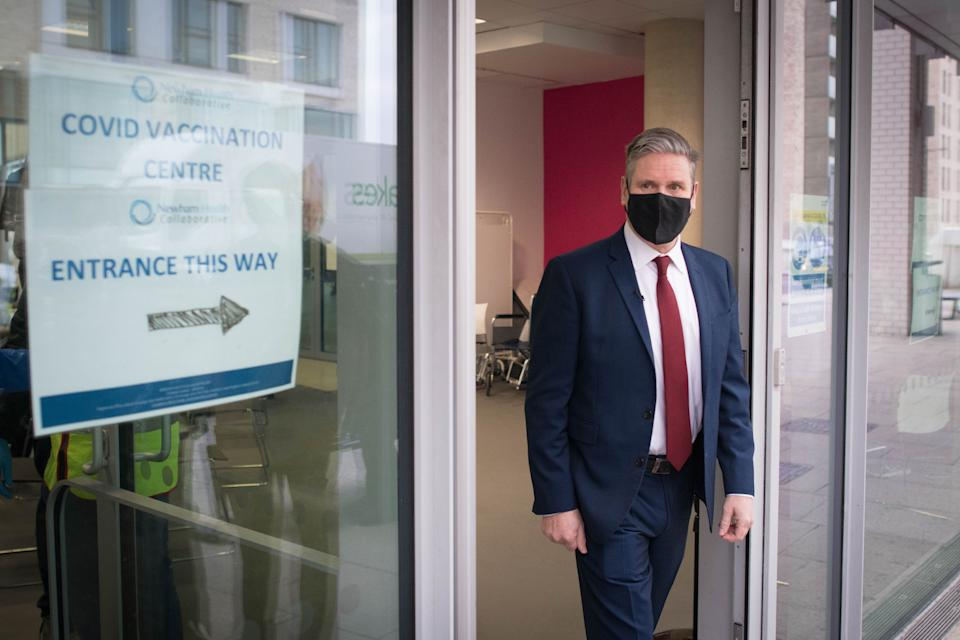 Labour leader Sir Keir Starmer visits the Sir Ludwig Guttman Health and Wellbeing Centre in Stratford, east London where met staff and saw patients receive the Pfizer-BioNTech COVID-19 Vaccine.