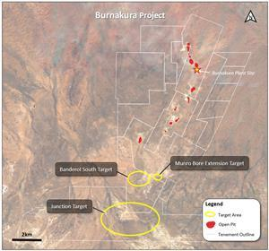 High potential target locations undercover at the Burnakura project (for grid coordinates see Figure 1).