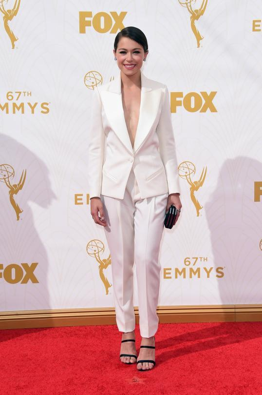 """<p>The """"Orphan Black"""" star, who plays 10 different characters on the show, wore just one look on the red carpet, but that was all she needed. The white Bouchra Jarrar suit, paired with Sophia Webster shoes, was sophisticated yet still sexy with the bare chest.<br></p>"""