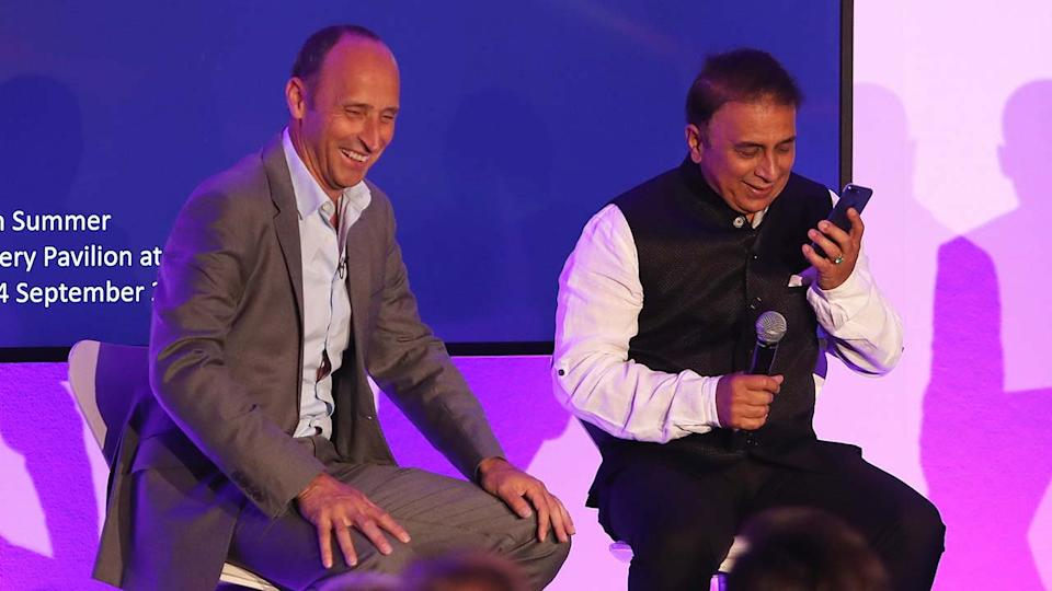 Nasser Hussain (pictured left) shares a laugh with Sunil Gavaskar (pictured right) during a dinner at Lord's Cricket Ground.