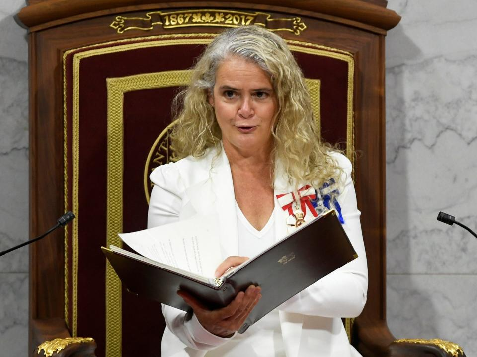 Julie Payette delivers the throne speech in the Senate chamber in Ottawa on Sept. 23, 2020. (Photo: ASSOCIATED PRESS)
