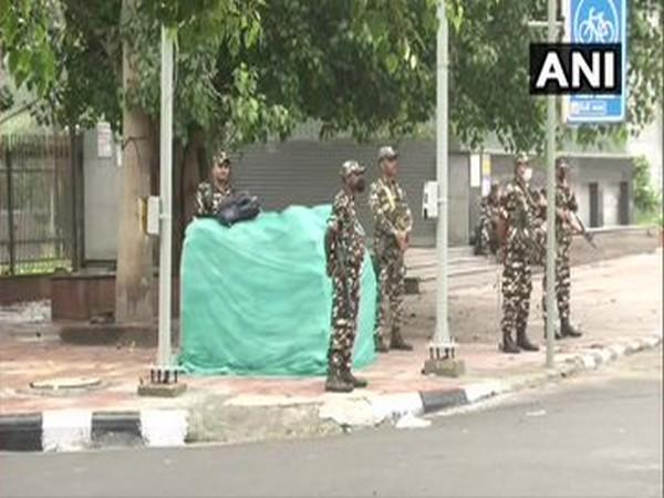 Delhi: Security tightened near Red Fort, ahead of Independence Day tomorrow. [Photo/ANI]