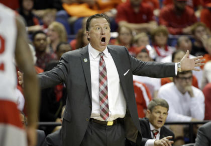 Mark Gottfried reacts to a call during the first half of N.C. State's win over Pittsburgh. (AP)