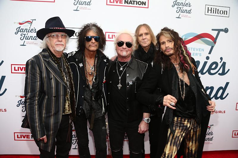 Aerosmith's Brad Whitford, left, Joe Perry, Joey Kramer, Tom Hamilton and Steven Tyler attend Tyler's Second Annual Grammy Awards Viewing Party on Feb. 10, 2019, in Los Angeles.