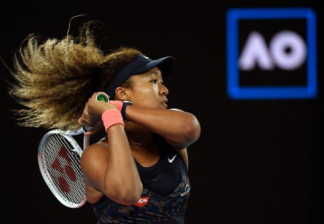 Naomi Osaka hits a backhand during her straight-sets win