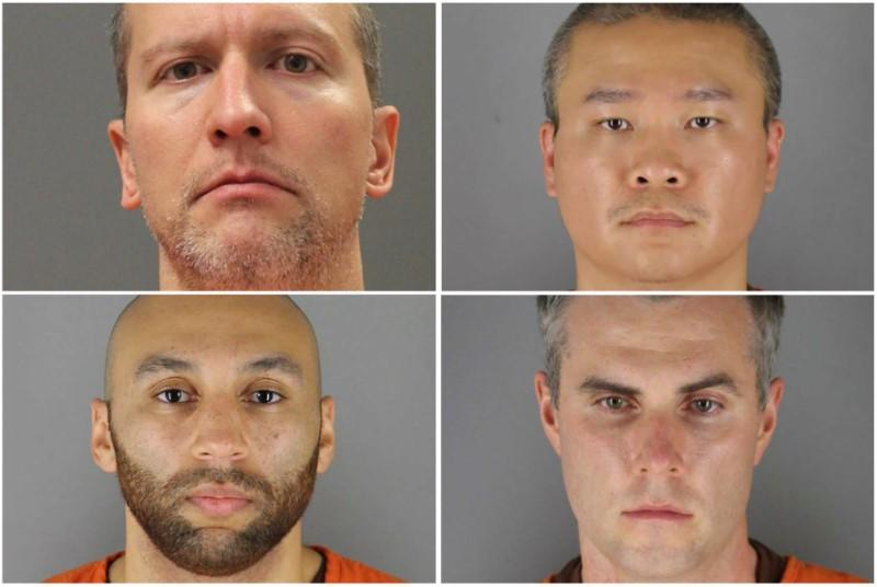 Former Minnesota police officers pose for booking photographs in Minneapolis