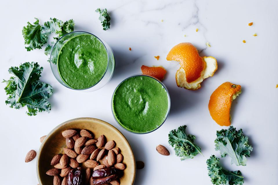 """As bananas turn the corner from ripe to too-ripe, peel them and pop them in the freezer so you can make this anytime (you won't need as much ice if using frozen bananas). <a href=""""https://www.bonappetit.com/recipe/almond-kale-and-banana-smoothie?mbid=synd_yahoo_rss"""" rel=""""nofollow noopener"""" target=""""_blank"""" data-ylk=""""slk:See recipe."""" class=""""link rapid-noclick-resp"""">See recipe.</a>"""