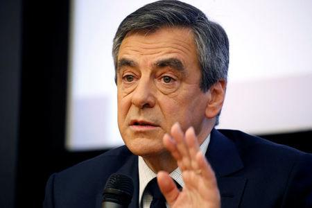 Francois Fillon, former French Prime Minister, member of the Republicans political party and 2017 presidential election candidate of the French centre-right, attends a meeting at the National Assembly in Paris