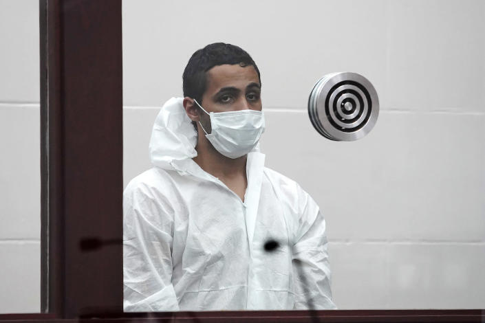 """Khaled Awad is arraigned on charges of stabbing a rabbi near a Jewish day school, in Brighton District Court in Boston, Friday July 2, 2021. Rabbi Shlomo Noginski is in """"stable condition and in good spirits"""" after being stabbed several times in the arm, Rabbi Dan Rodkin, executive director of Shaloh House, posted on Facebook. (Mary Schwalm/The Boston Herald via AP, Pool)"""