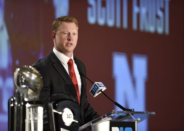 Nebraska head coach Scott Frost speaks at the Big Ten Conference NCAA college football Media Days in Chicago, Monday, July 23, 2018. (AP Photo/Annie Rice)