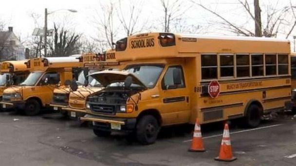 PHOTO: A fleet of school buses from Mercy USA is shown on Feb. 12, 2020. A bus driver who works for the company allegedly abandoned a school bus in the middle of her route when she was taking them home on Feb. 6, 2020. (ABC News/WABC)