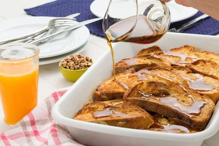 """<p>A <a href=""""https://www.goodhousekeeping.com/holidays/christmas-ideas/g2998/christmas-breakfasts/"""" rel=""""nofollow noopener"""" target=""""_blank"""" data-ylk=""""slk:hearty Christmas breakfast"""" class=""""link rapid-noclick-resp"""">hearty Christmas breakfast</a> will get the day's festivities off on the right foot. For a simple starter, whip up this make-ahead eggnog French toast bake before bed on Christmas Eve. Then just pop it in the oven on Christmas morning so breakfast makes itself while you unwrap presents.</p><p><em><a href=""""https://www.delish.com/cooking/recipe-ideas/recipes/a44987/eggnog-french-toast-bake-recipe/"""" rel=""""nofollow noopener"""" target=""""_blank"""" data-ylk=""""slk:Get the recipe at"""" class=""""link rapid-noclick-resp"""">Get the recipe at</a></em><em><a href=""""https://www.delish.com/cooking/recipe-ideas/recipes/a44987/eggnog-french-toast-bake-recipe/"""" rel=""""nofollow noopener"""" target=""""_blank"""" data-ylk=""""slk:Delish »"""" class=""""link rapid-noclick-resp""""> Delish »</a></em></p>"""