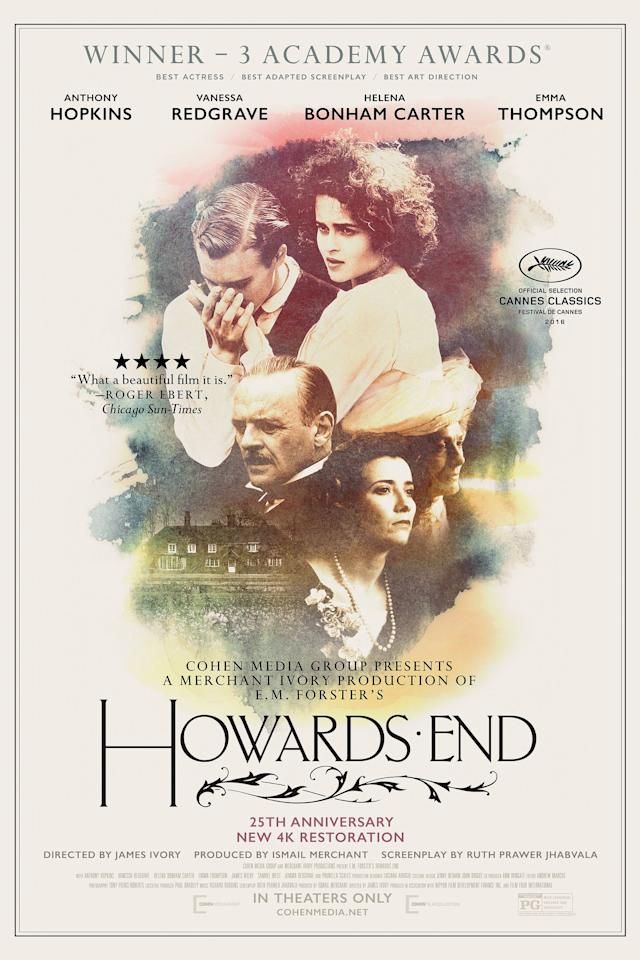 <p>(1992)</p> <p>This Merchant Ivory adaptation of E.M. Forster's novel is a sumptuous period piece starring Emma Thompson and Anthony Hopkins. </p> <p>After <b><i>Howards End,</i></b> watch: <i>A Room with a View, Sense and Sensibility,</i> and <i>Pride & Prejudice. </i></p>