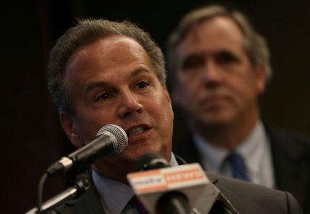 FILE PHOTO: Congressman David Cicilline talks to reporters during a news conference at a hotel in Yangon