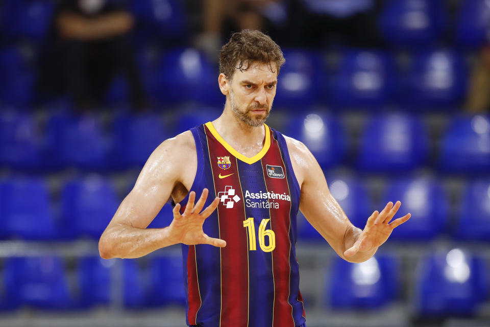 16 Pau Gasol of FC Barcelona during the Liga ACB playoff 3rd match of the semi final between FC Barcelona and Lenovo Tenerife at Palau Blaugrana on June 11, 2021 in Barcelona, Spain.  (Photo by Xavier Bonilla/NurPhoto via Getty Images)