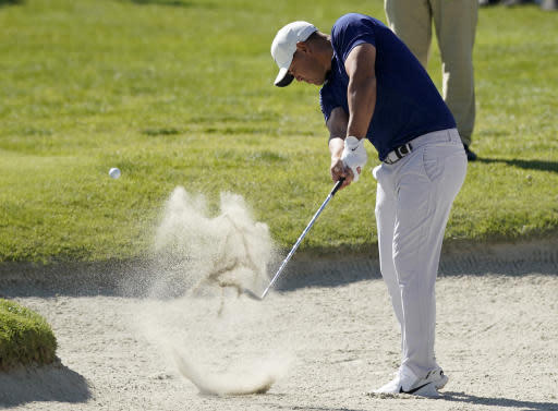 Brooks Koepka hits from a fairway bunker on the seventh hole during the second round of the Genesis Invitational golf tournament at Riviera Country Club, Friday, Feb. 14, 2020, in the Pacific Palisades area of Los Angeles. (AP Photo/Ryan Kang)