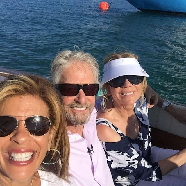 "<p>""We are in Bermuda ya'll!"" wrote the <em>Today</em> show cohost about this pic, in which she's chilling with Michael Douglas and Kathie Lee Gifford. It's a rough job, but someone has to do it. (Photo: <span><a href=""https://www.instagram.com/p/BUNpXUtg9z8/"" rel=""nofollow noopener"" target=""_blank"" data-ylk=""slk:Hoda Kotb via Instagram"" class=""link rapid-noclick-resp"">Hoda Kotb via Instagram</a>)</span> </p>"