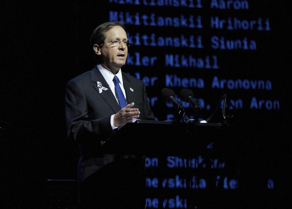 Israel President Isaac Herzog speaks during commemorative events marking the 80th anniversary of the Babi Yar massacre of Kyiv Jews perpetrated by German occupying forces in 1941 in Kyiv, Ukraine, Wednesday, Oct. 6, 2021. (Ukrainian Presidential Press Office via AP)