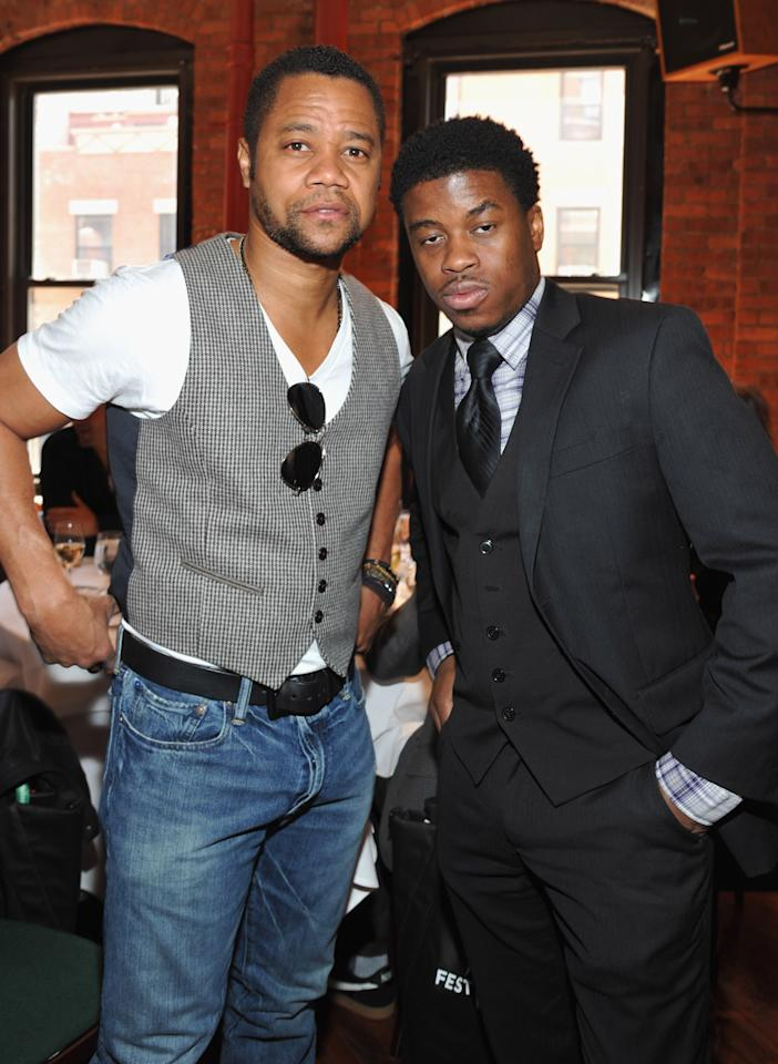 NEW YORK, NY - APRIL 19:  Actor Cuba Gooding Jr. (L) and guest attend the 2012 Tribeca Film Festival Jury lunch at the Tribeca Grill Loft on April 19, 2012 in New York City.  (Photo by Mike Coppola/Getty Images for Tribeca Film Festival)