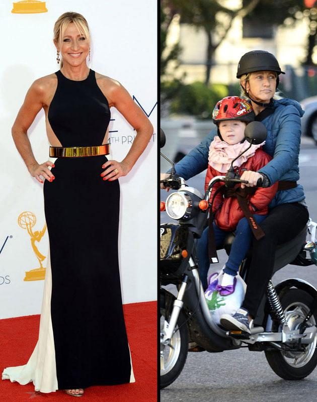 Emmy Awards: Edie Falco trades in her scrubs for a sultry midnight blue gown accented with a gold belt  Day after: Falco takes daughter Macy for a ride on her electric scooter in New York City.