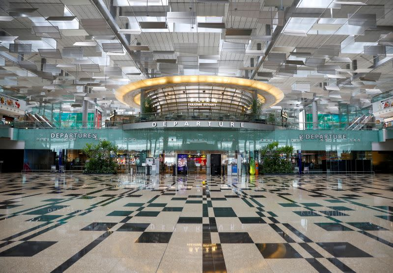 FILE PHOTO: A view of an empty departure hall at Singapore's Changi Airport