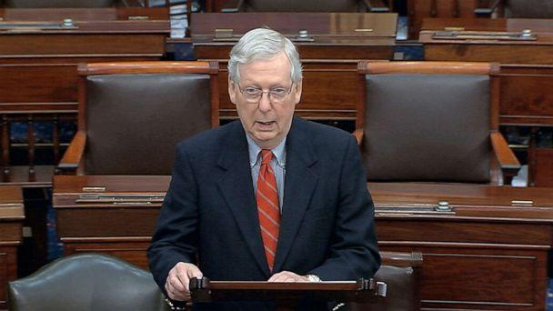 PHOTO: Senate Majority Leader Mitch McConnell speaks on the Senate floor at the Capitol, in Washington, Saturday, March 21, 2020. (AP)