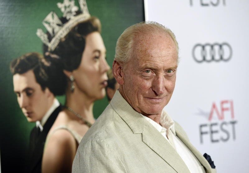 "Charles Dance, a cast member in the Netflix series ""The Crown,"" poses at a gala screening of the show at the 2019 AFI Fest at the TCL Chinese Theatre, Saturday, Nov. 16, 2019, in Los Angeles. (Photo by Chris Pizzello/Invision/AP)"
