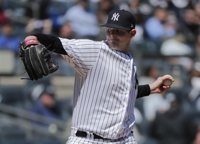 New York Yankees pitcher Jordan Montgomery delivers against the Toronto Blue Jays during the second inning of a baseball game, Saturday, April 21, 2018, in New York. (AP Photo/Julie Jacobson)