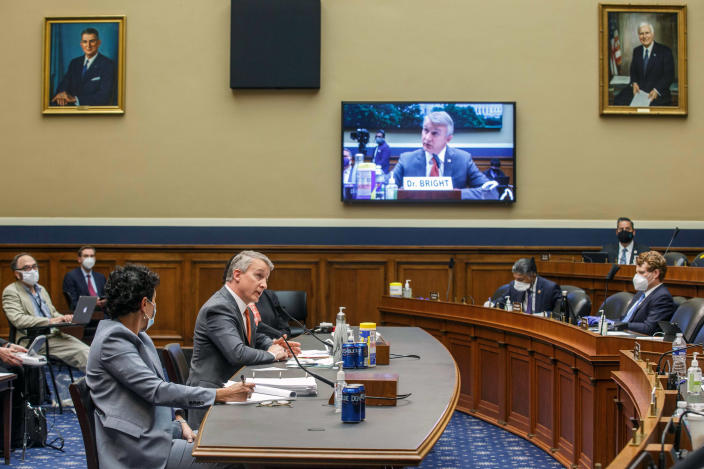 Dr. Rick Bright, former head of the Biomedical Advanced Research and Development Authority, testifies before the House Energy and Commerce Subcommittee on Health on May 14, 2019, in Washington. (Shawn Thew/Pool via The New York Times)