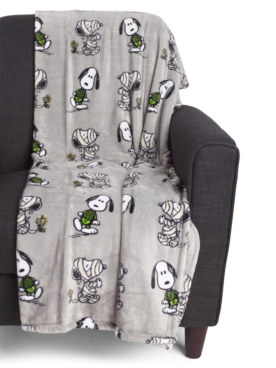 <p>Snoopy from <strong>Peanuts</strong> is dressed as a mummy on the <span>Mummy Plush Throw</span> ($17).</p>