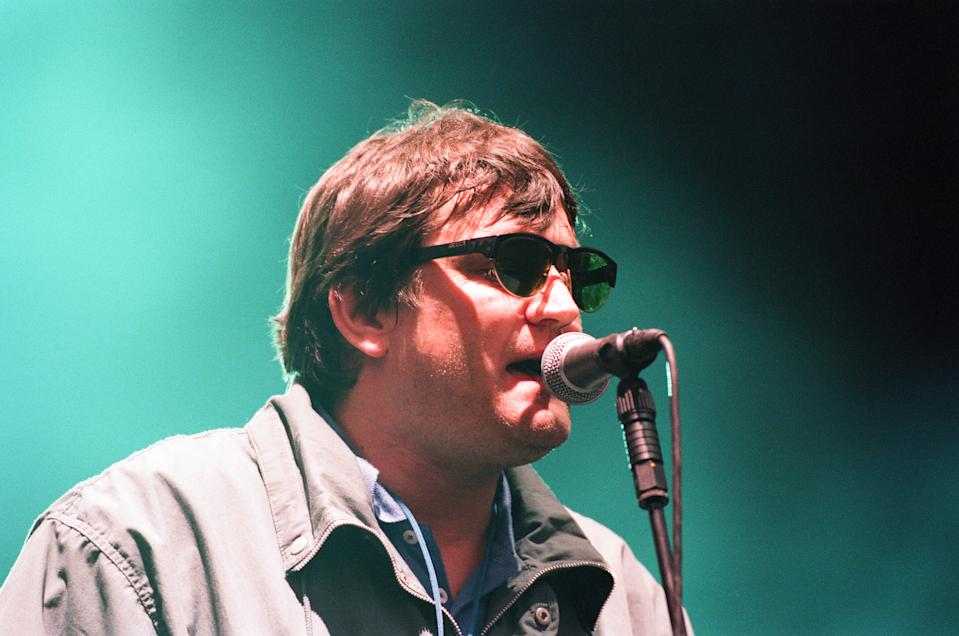 Paul Heaton. The Beautiful South performing live at the Alfred McAlpine Stadium, 12th July 1997. (Photo by Staff/Mirrorpix/Getty Images)