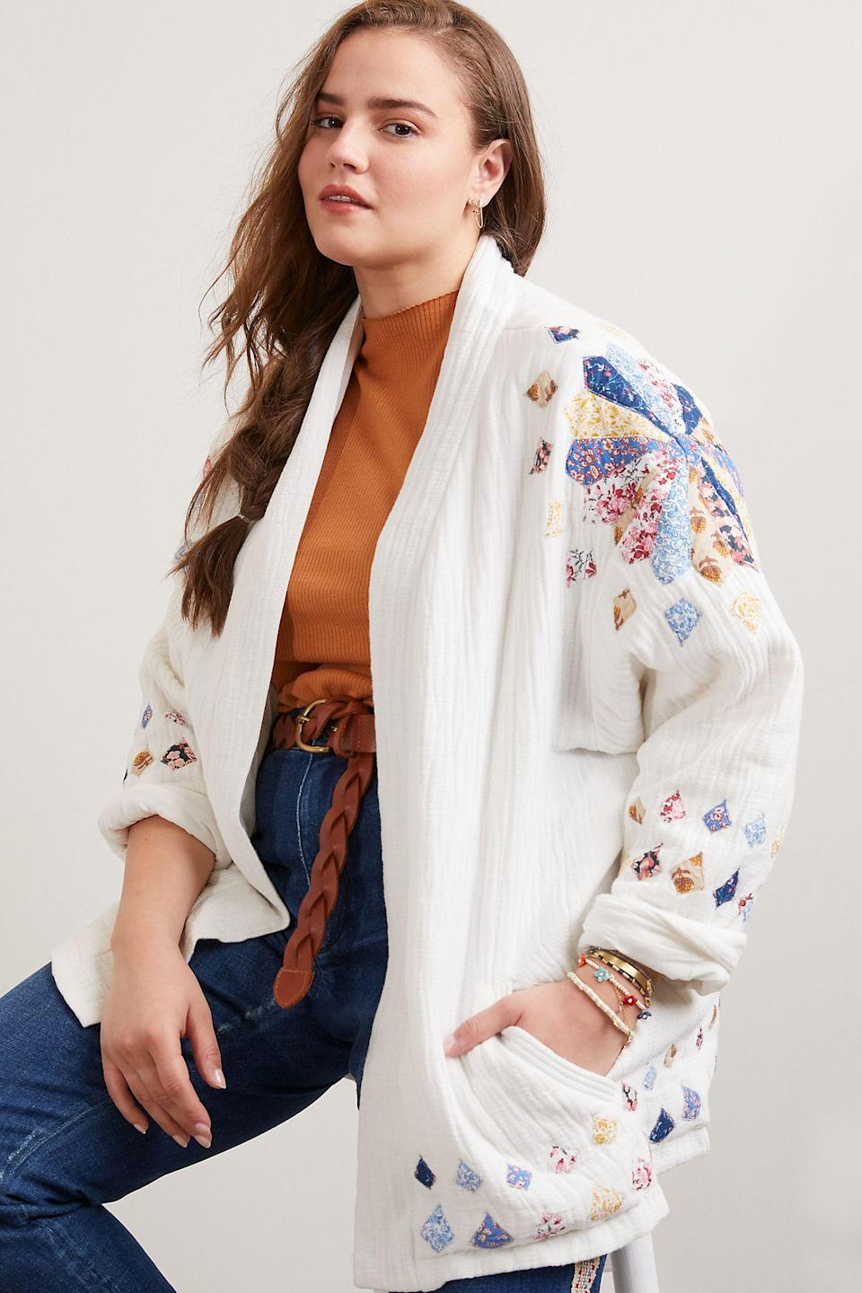 """<h2>Anthropologie</h2><br><strong>Dates: </strong>Limited time<br><strong>Sale:</strong> Extra 25% off sale items<br><strong>Code:</strong> None<br><br><em>Shop <strong><a href=""""https://www.anthropologie.com/freshly-cut-sale"""" rel=""""nofollow noopener"""" target=""""_blank"""" data-ylk=""""slk:Anthropologie"""" class=""""link rapid-noclick-resp"""">Anthropologie</a></strong></em><br><br><strong>Anthropologie</strong> Quilted Patchwork Jacket, $, available at <a href=""""https://go.skimresources.com/?id=30283X879131&url=https%3A%2F%2Fwww.anthropologie.com%2Fshop%2Fquilted-patchwork-jacket%3Fcategory%3Dfreshly-cut-sale-clothes%26color%3D015%26type%3DSTANDARD%26quantity%3D1"""" rel=""""nofollow noopener"""" target=""""_blank"""" data-ylk=""""slk:Anthropologie"""" class=""""link rapid-noclick-resp"""">Anthropologie</a>"""
