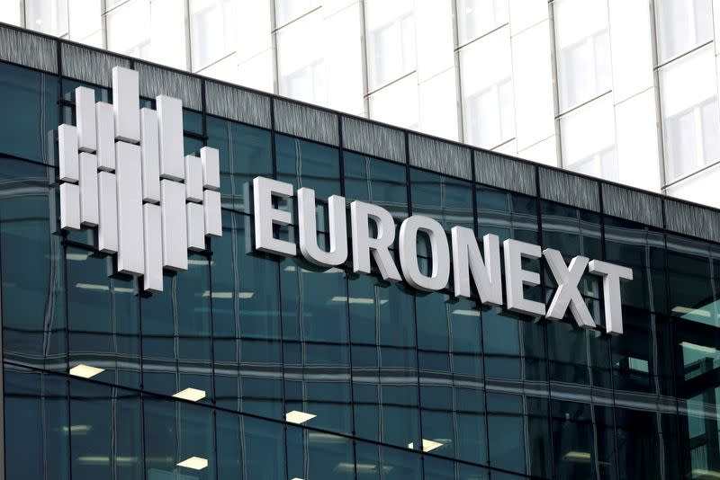FILE PHOTO: The logo of stock market operator Euronext is seen on a building in the financial district of la Defense in Courbevoie