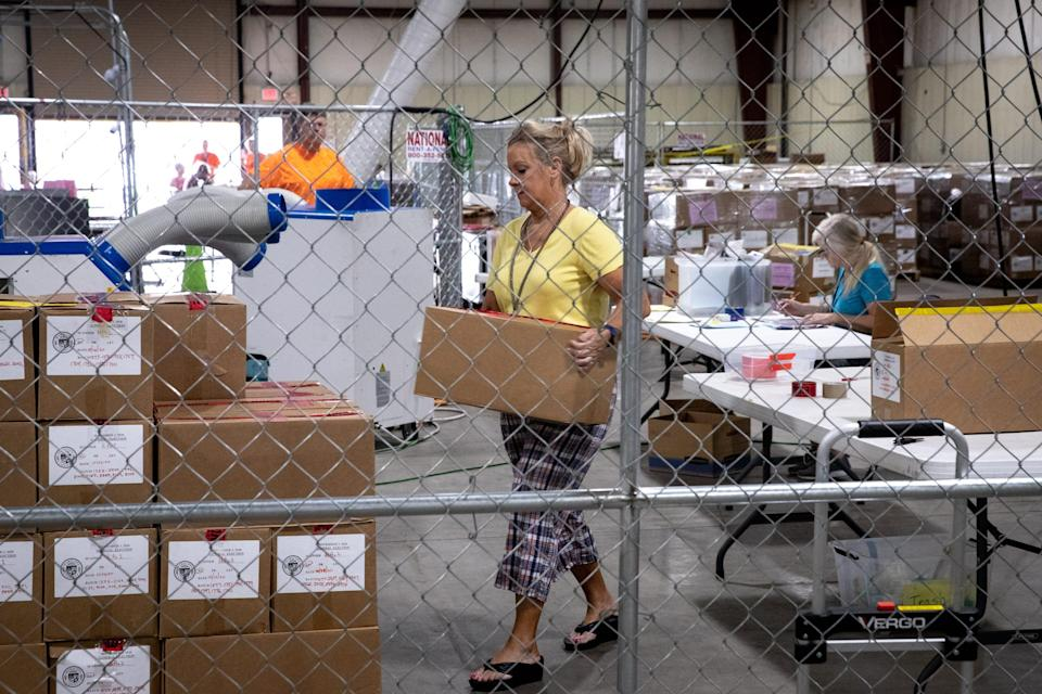 The audit of the Maricopa County ballots from the 2020 general election continues, July 19, 2021, in the Wesley Bolin Building at the Arizona State Fairgrounds, Phoenix.