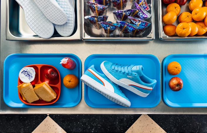 Suede Triplex sneakers from the Puma x Kool-Aid collaboration. - Credit: Bruce Ha