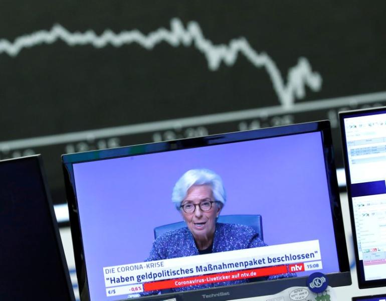 A television broadcast showing Christine Lagarde, President of the European Central Bank (ECB), is pictured during a trading session at Frankfurt's stock exchange in Frankfurt