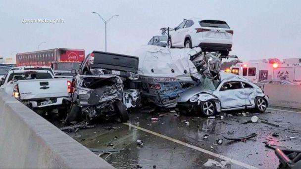 PHOTO: The aftermath of a multi-vehicle accident remains on I-35 highway north in Fort Worth, Texas, Feb.11, 2021. (Jason McLaughlin)