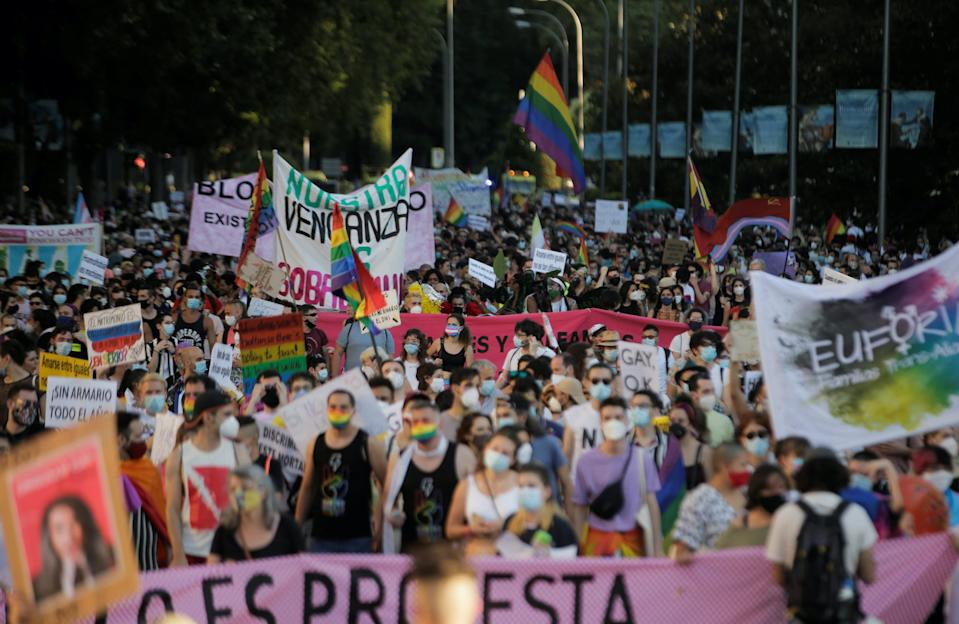 Members of Madrid's Critical Pride platform hold a demonstration, amid the spread of the coronavirus disease (COVID-19), in central Madrid, Spain, June 28, 2020.