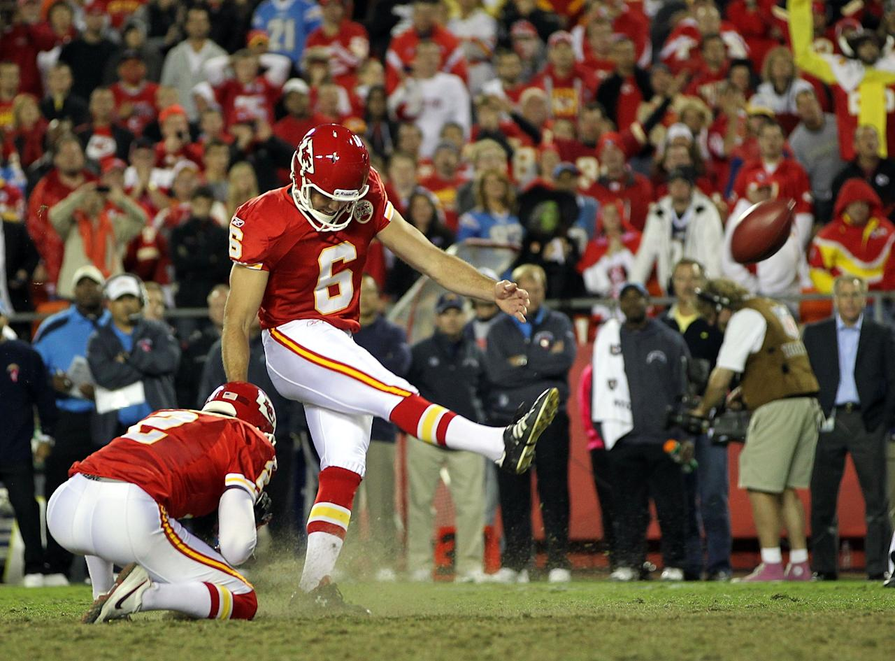 KANSAS CITY, MO - OCTOBER 31:  Kicker Matt Succop #6 of the Kansas City Chiefs kicks a game-winning field goal in overtime to win the game against the San Diego Chargers on October 31, 2011 at Arrowhead Stadium in Kansas City, Missouri.  (Photo by Jamie Squire/Getty Images)