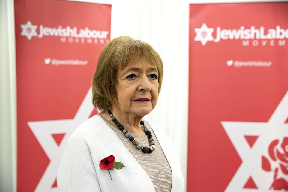 "LONDON, ENGLAND - OCTOBER 29: Parliamentary Chair of JLM, Dame Margaret Hodge MP, attends a press conference on the findings of The Equality and Human Rights Commission into antisemitism in the Labour Party at the offices of Mischon de Raya on October 29, 2020 in London, England. The Equality And Human Rights Commission published its report into anti-semitism in the Labour Party under the rule of former leader, Jeremy Corbyn.  Corbyn was suspended after his response to the report. Labour said: ""In light of his comments made today and his failure to retract them subsequently, the Labour Party has suspended Jeremy Corbyn pending investigation."" (Photo by Ian Vogler - Pool/Getty Images)"