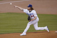 Los Angeles Dodgers starting pitcher Dustin May throws during the first inning of a baseball game against the Oakland Athletics Tuesday, Sept. 22, 2020, in Los Angeles. (AP Photo/Ashley Landis)